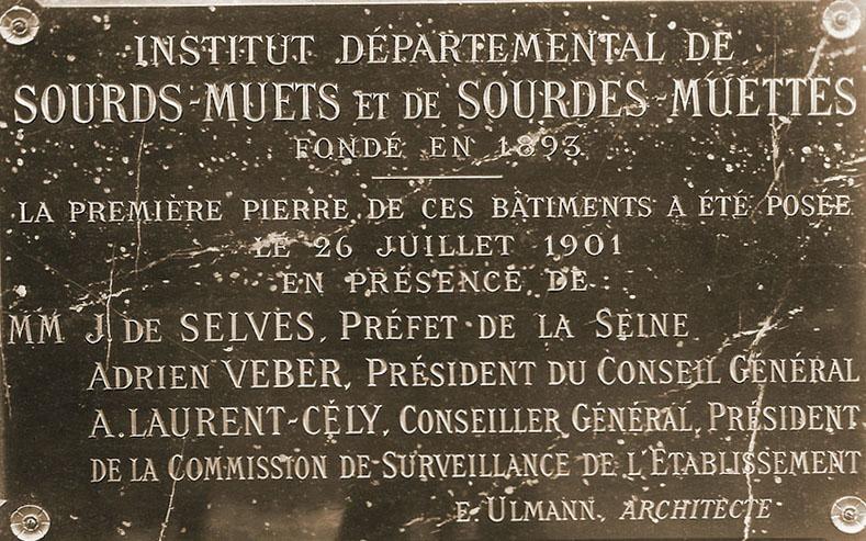 Plaque cémémorative de la première pierre le 26 juillet 1901